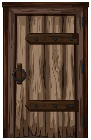 Vieille porte en bois sur fond blanc