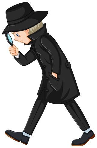 Detective in cappotto nero che tiene la lente d'ingrandimento