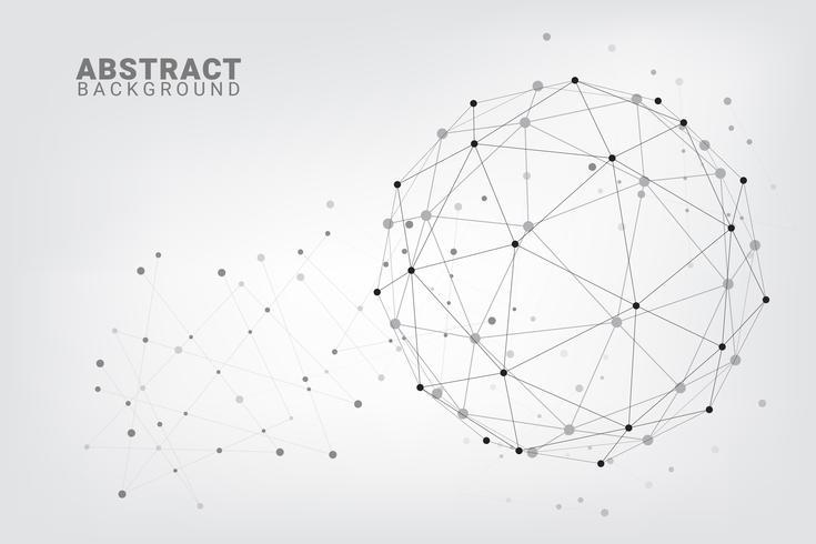 Abstracte technologieachtergrond. Geometrische vectorachtergrond. Wereldwijde netwerkverbindingen met punten en lijnen.