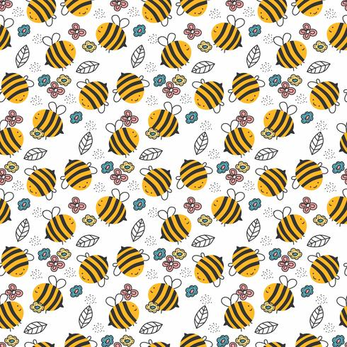 Hand Drawn Bee Pattern vector
