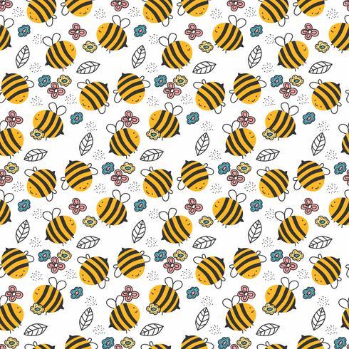 Hand getrokken Bee patroon