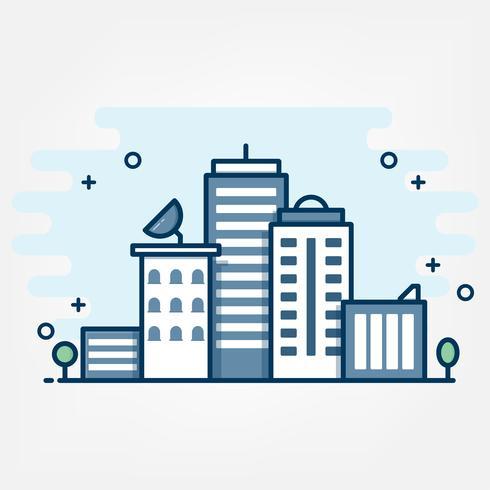 Estilo de arte de linha plana. design para banner de site de tema de idéia de paisagem urbana.
