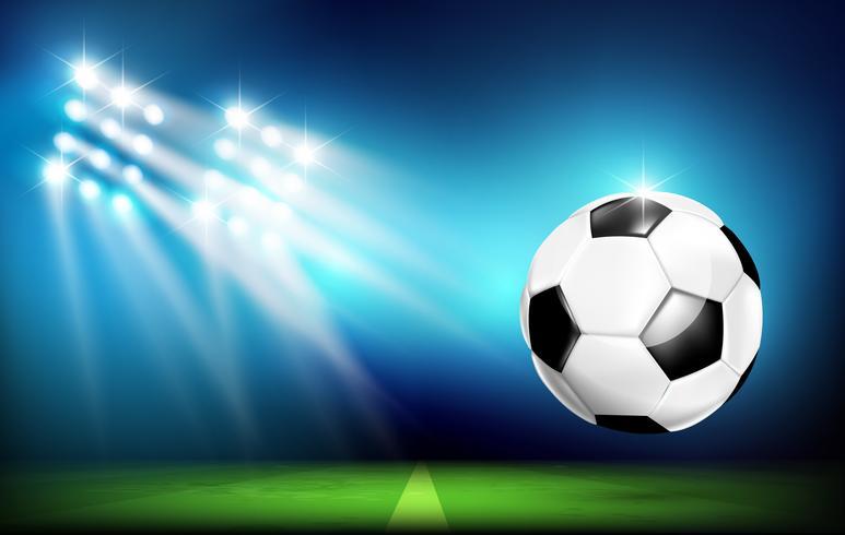 Bola de futebol com estádio e iluminação 001 vetor