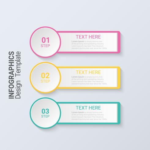 Three steps infographics. 3d Modern business template.