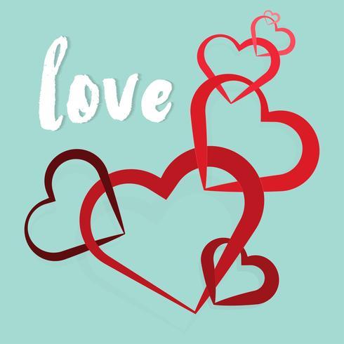 Corazón de san valentín Fondo decorativo del corazón con los corazones de las tarjetas del día de San Valentín. Concepto de amor y día de san valentín, estilo de arte en papel.