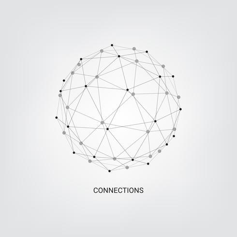 Abstrakter Technologiehintergrund. Geometrischer Vektorhintergrund. Globale Netzwerkverbindungen mit Punkten und Linien. Minimale Linie Hintergrund der Hub-Netzwerkverbindung