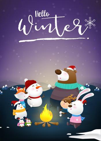 Hello winter with animal cartoon and night snow 001