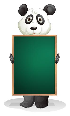 A panda at the back of an empty blackboard