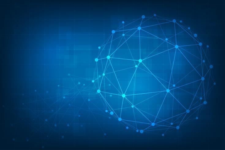 Abstrakter Technologiehintergrund. Geometrischer Vektorhintergrund. Globale Netzwerkverbindungen mit Punkten und Linien.