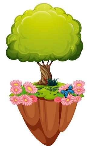 Green tree and pink flowers