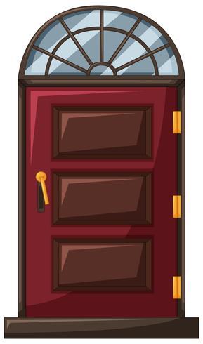 Red door with wooden frame