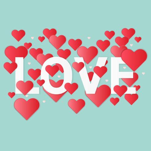 Illustratie van liefde en valentijnskaartdag, document kunststijl.