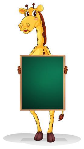 Una giraffa che tiene un bordo vuoto
