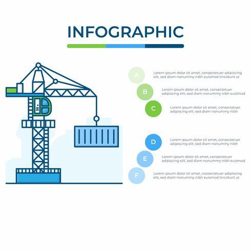 Geschäft Infografik. Infografiken Diagramm mit Kran. Vorlage für die Präsentation. Güterverkehrs- und Logistikkonzept.