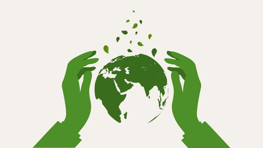 Hands protect green earth globe. Save Earth Planet World Concept. vector
