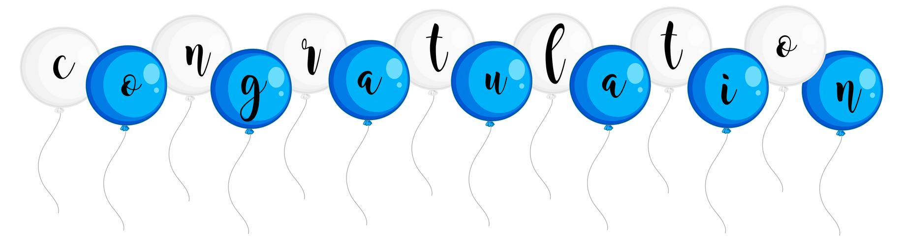 Parabéns palavra em balões azuis e brancos
