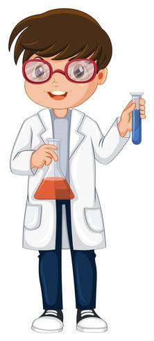 cientista segurando o copo e o tubo de ensaio