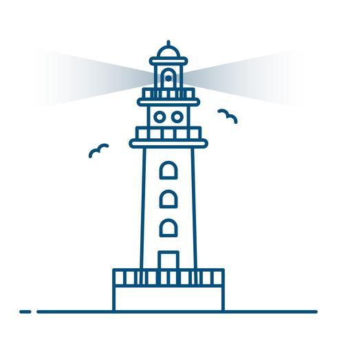 Line art style. Lighthouse vector.