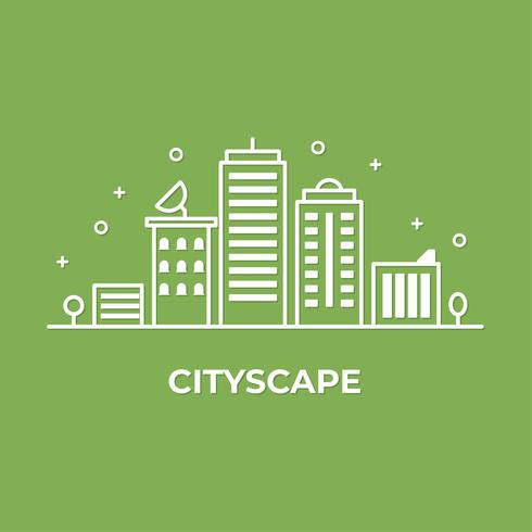 City landscape with building.  Flat line vector illustration of tower cityscape. minimal style.
