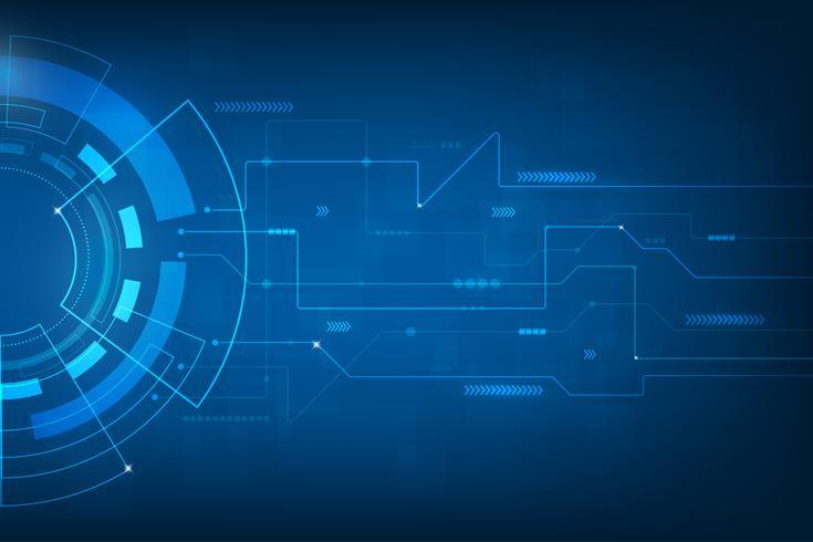 Sfondo astratto di tecnologia. tecnologia digitale mondo di informazioni commerciali. interfaccia grafica virtuale blu futuristica.