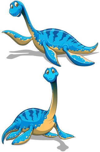 Dinosaurio azul con cuello largo.