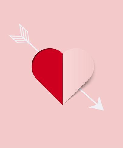 Alla hjärtans dagkort med hjärtpapper. Vektor illustration.