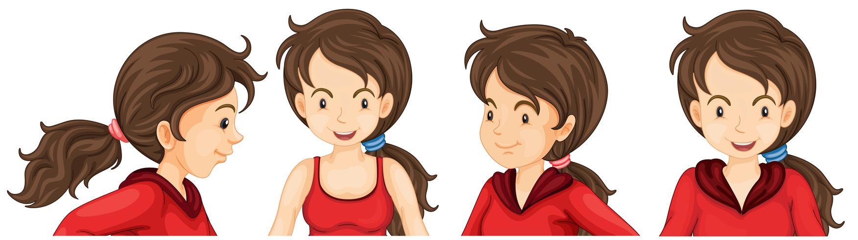 Mulher, em, vermelho, atleta, traje