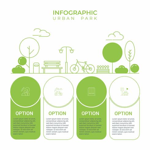 Business infographic. Infographics diagram with urban city park line art. template for presentation. concept exercise and relax.