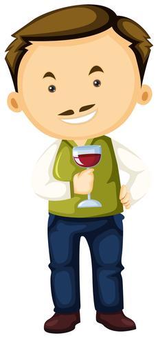Wijnmakerij die wijnglas in hand houdt