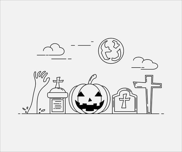 Style d'art de ligne plate. conception pour halloween. site web et bannière.