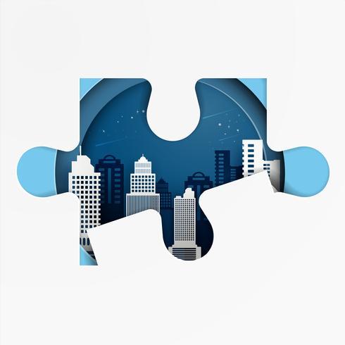 Geschäftlicher Erfolg. Kooperations- und Teamwork-Konzept. Puzzleteile auf Stadtbildhintergrund. Papierkunststil.
