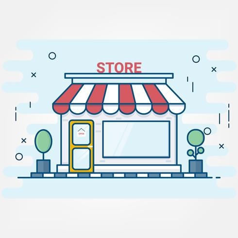Flat line art style. design for shopping store building icons. Online shopping service.