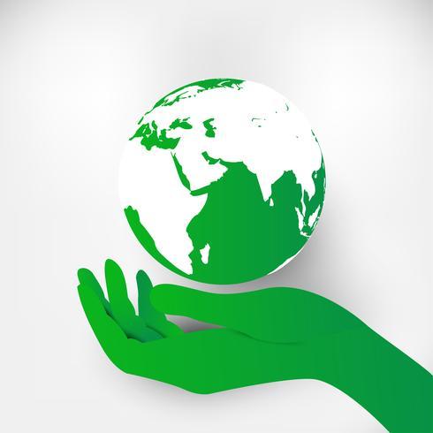 Salvar el concepto del mundo planeta tierra. Concepto del día mundial del medio ambiente. Ciudad urbana verde moderna en el globo verde del punto, concepto de la ecología.