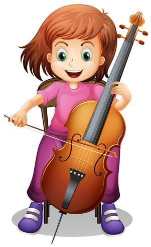 Ragazza che suona il violoncello sulla sedia