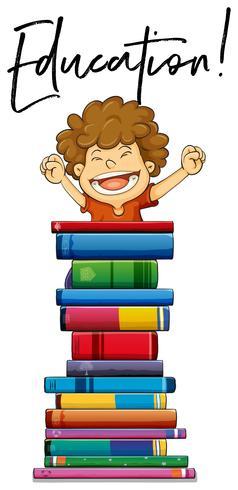 Petit garçon et livres avec phrase éducation vecteur