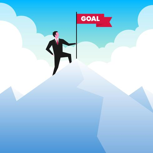 Businessman Standing On Top Of A Mountain With A Flag Illustration vector