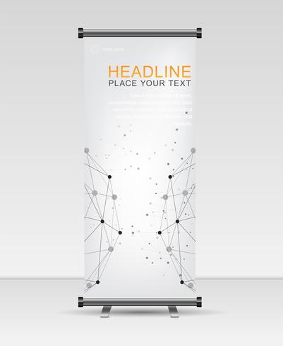 Roll up banner stand template. Abstract  Geometric and Global network connections with points and lines.