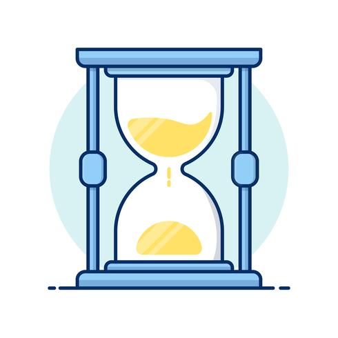 Line art icons. Hourglass antique instrument. Hourglass as time passing concept for business deadline. vector