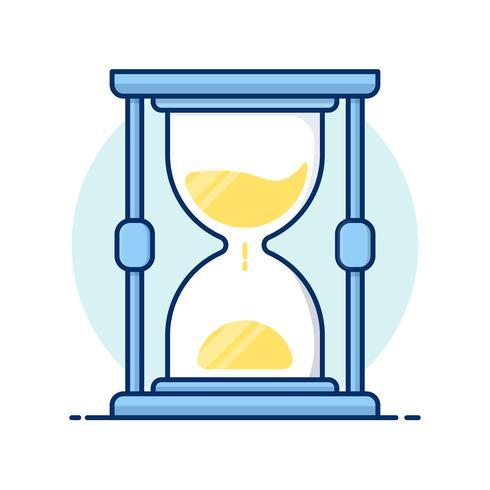 Linjekonstikoner. Hourglass antik instrument. Hourglass som tiden som passerar begreppet för verksamhetsfristen.