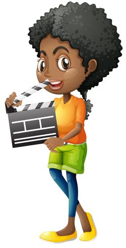Girl holding clapboard on white background vector