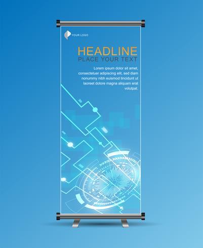 Roll up banner template stand. Collegamenti di rete geometrica e globale astratti con punti e linee.