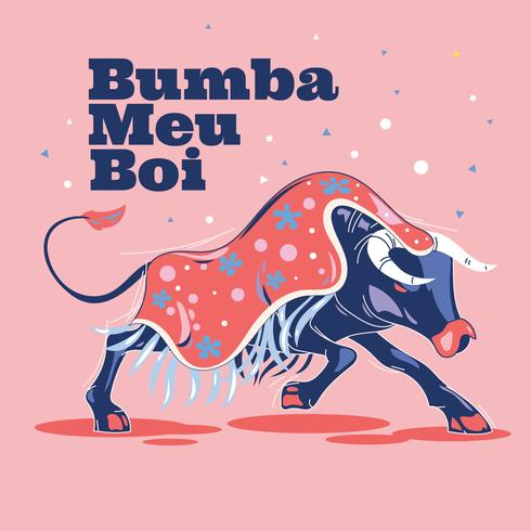 Illustration Bumba Meu Boi or Hit My Bull
