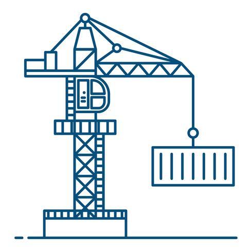 Strichzeichnung Stil. Kran ilustration Vektorhintergrund. Güterverkehrs- und Logistikkonzept.