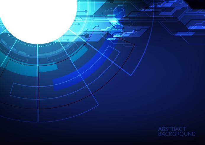 Abstraktes Digitaltechnik- und Kommunikationskonzept. Hightechcomputerinnovation auf dem blauen Hintergrund. Vektorabbildung eps10.