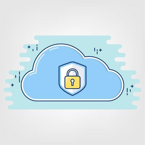 Flat Thin line Art. cloud data security concept.