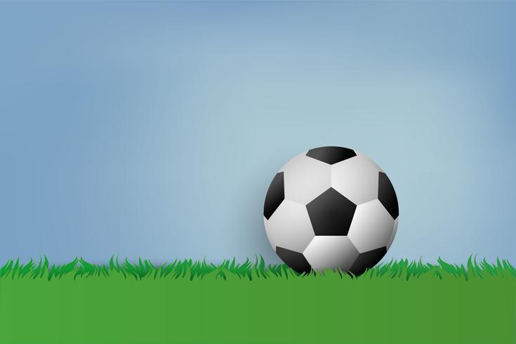 Fútbol sobre hierba verde. estilo de arte de papel.