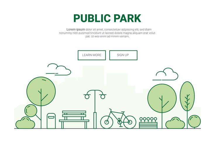 Landschap stedelijke tuin park concept. ontwerp voor milieu groen op de website van de bestemmingspagina van het stadsthema.