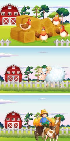 Boer en boerderijdieren op de boerderij
