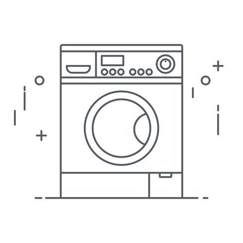 Thine Line art Máquina de lavar roupa para web ícones. símbolo de vetor de ilustração.