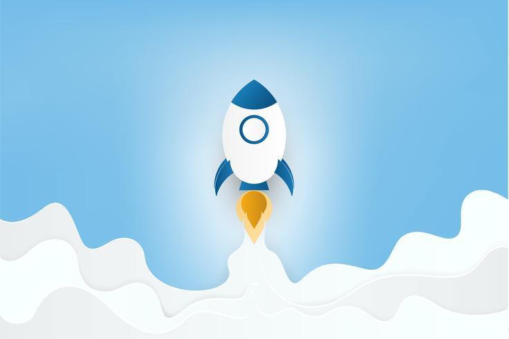 Estilo del arte en papel. Lanzamiento de cohete en las nubes y el cielo azul. Inicio de negocios